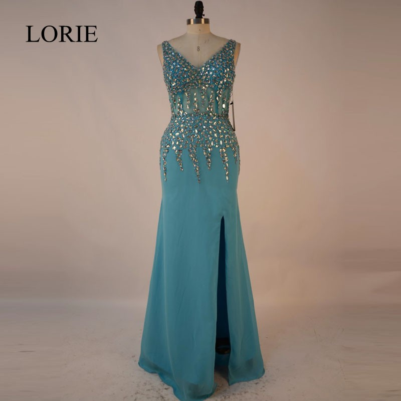 Turquoise Blue Mermaid Prom Dresses 2017 Robe de soiree longue Rhinestone See Through Formal Evening Gowns Long Party Dresses