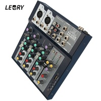 LEORY Profissional 4 Channel DJ Mixer Controller With Built in Amplifier Metal DJ Mezclador USB DJ Console For Audio Karaoke