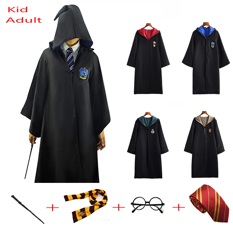 Halloween Cloak Gryffindor Slytherin Ravenclaw Hufflepuff Robe Cosplay Costumes For Kids Adults For Potter Costume