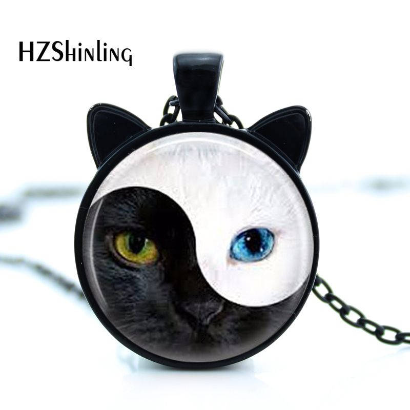 CN-00837 2017 New YIN YANG Cat Necklace Cat Face Pendant Jewelry Cat Cat varëse veshi xhami rrumbullake rrumbullakët HZ2