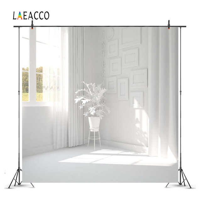 Laeacco Boudoir Window White Curtain Art Flowers Pot Photography Backgrounds Customized Photographic Backdrops For Photo Studio