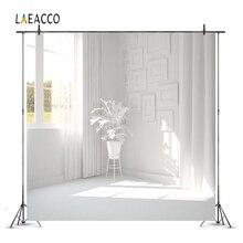 Laeacco Kamer Interieur Fotografie Achtergronden Witte Huis Gordijn Sunshine Planten Foto Achtergronden Voor Fotostudio Props