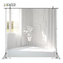 Laeacco комната интерьер фотографии фоны Белый дом окно занавеска солнце растения Фото фоны для фотостудии реквизит