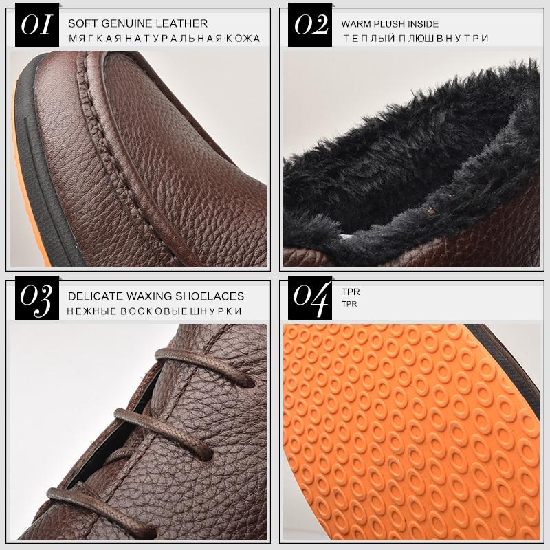 OSCO Merk Winter Laarzen Mannen Echt Leer Mode Enkellaarsjes Platte Schoenen Mannen Hoge Kwaliteit Met Bont Super Warm Sneeuw laarzen-in Eenvoudige Laarzen van Schoenen op  Groep 2