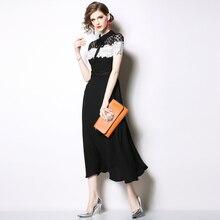 فستان أسود أنيق خليط من الدانتيل الراقي والشيفون لإطلالة رائعة