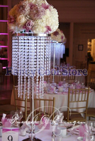 80cm(H) 2 Tier Table centerpiece chandelier flower stand crystal wedding decoration