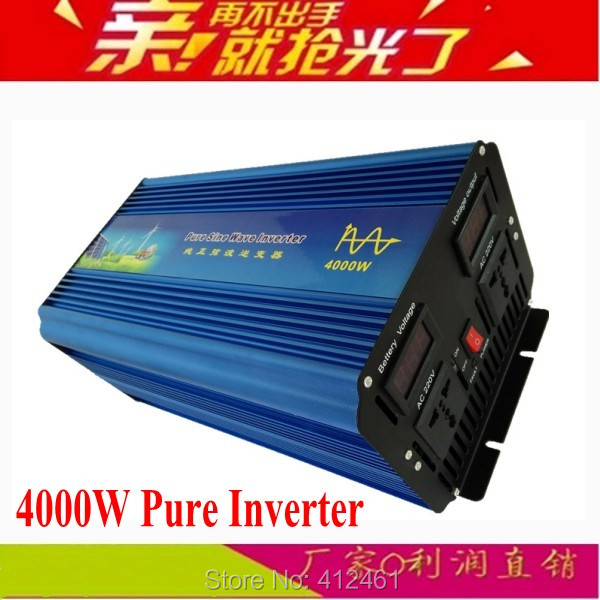 Peak power 8000w inverter pure sine wave DC 12V to AC 110V/220V~240V 50hz or 60hz pure sine wave inverter 4000W continues dc to ac off grid tied pure sine wave 48v dc 220v ac power inverter 4000w peak 8000w