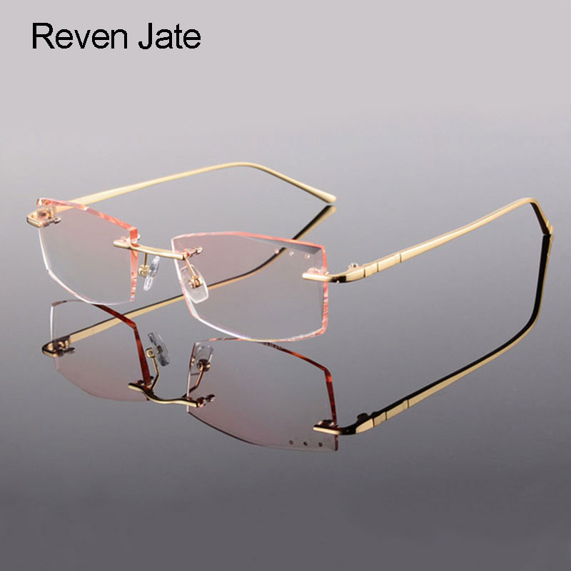 Reven Jate Rimless Eyeglasses Alloy Metal Frame Eye Glasses Optical - Apparel Accessories
