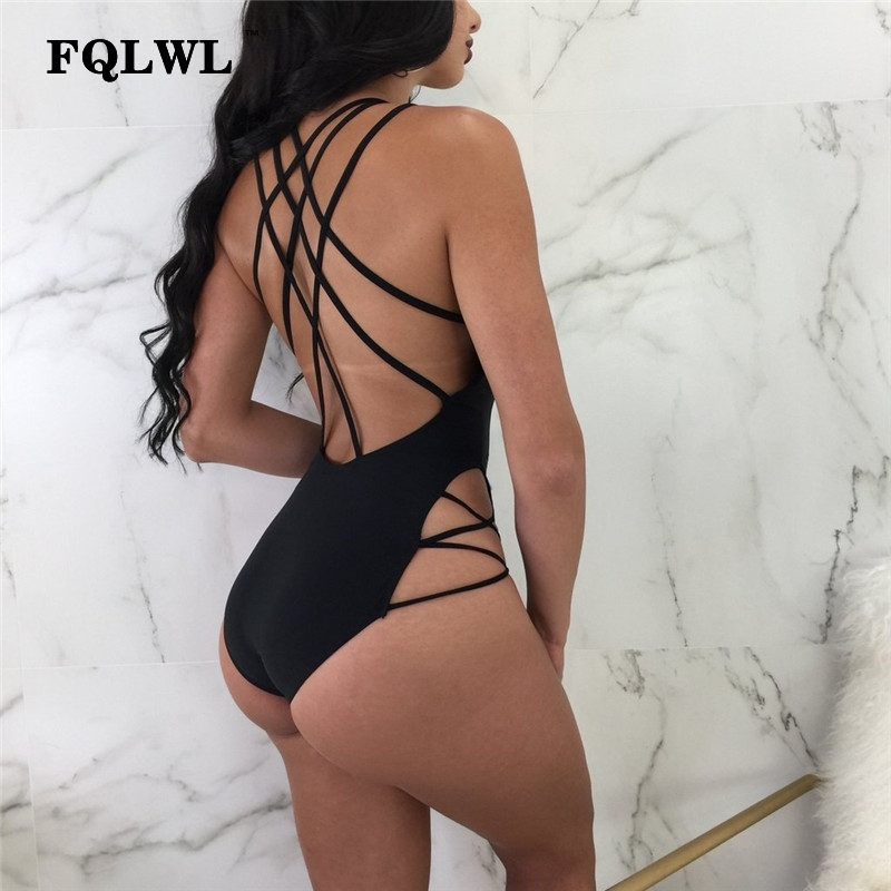 FQLWL Backless Red Bdoysuit Women Rompers Bandage V Neck Sleeveless Black Sexy Short Jumpsuits Plus Size Summer Beach Swimsuit