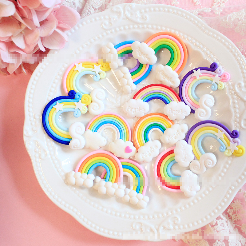 Accessories Loyal Sale 4pcs Soft Clay Rainbow Diy Rainbow Cream Phone Shell Accessories Stationery Box Jewelry Accessories Hair Accessories