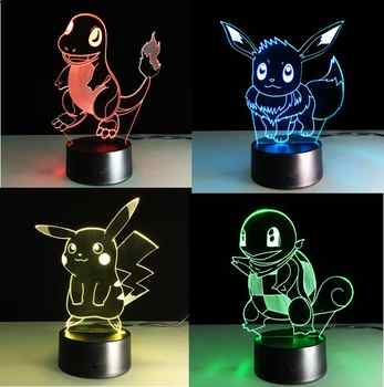 Pokemon Go Touch Night Lights Colorful Charmander Games Pikachu Action Figures Toys Squirtle Bulbasaur Pokeball Children Gifts - DISCOUNT ITEM  34% OFF All Category