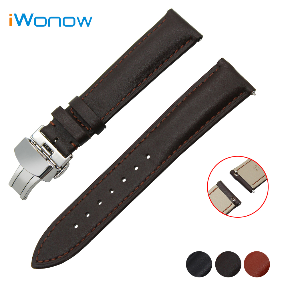 Cowhide Genuine Leather Watchband 20mm 22mm for IWC Watch Butterfly Buckle Strap Quick Release Band Wrist Belt Bracelet white light 156pcs led lamps adjustable stereo biological microscope ring lamp input power 8w 90v 264v with 81mm inner diameter