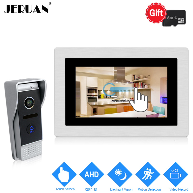 JERUAN 720P AHD Motion Detection 7`` Touch Screen Video Door Phone Intercom System Record Monitor +1.0MP HD 110 degree CameraJERUAN 720P AHD Motion Detection 7`` Touch Screen Video Door Phone Intercom System Record Monitor +1.0MP HD 110 degree Camera