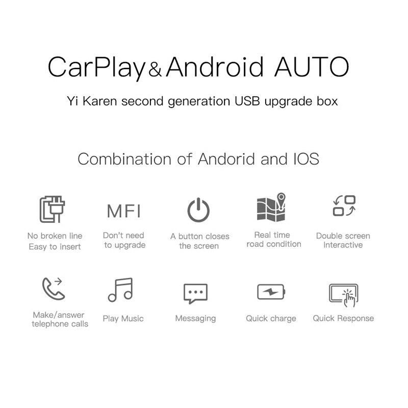 Nouvelle génération USB CarPlay Dongle pour Android multimédia GPS Radio avec micro intégré Siri commande vocale CarPlay et Android Auto - 2
