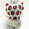 Handmade Crochet Sweaters 2016 Women Mohair Hollow Out Rose Floral Butterfly Sleeve Pullover White 2052