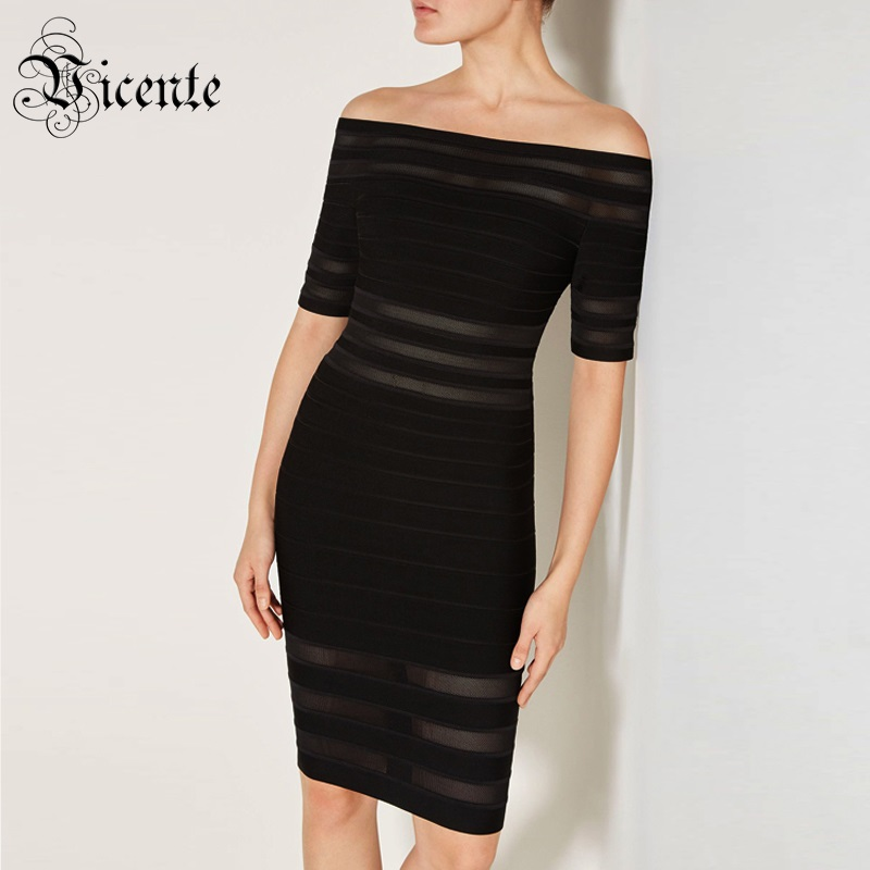 Vicente HOT 2019 New Fashion Sexy Off The Shoulder Stried Mesh Splicing Short Sleeves Wholesale Celebrity