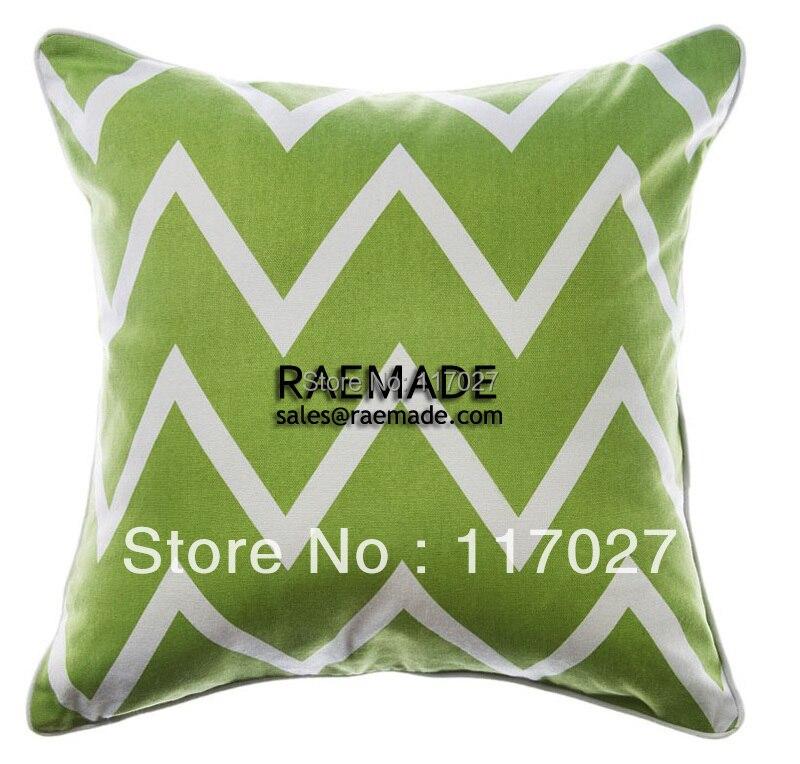 Lime Green Chevron Throw Pillow : Lime Green ZIG ZAG CHEVRON Decorative Pillow PRINT Throw Pillow 100% COTTON CANVAS Cushion Cover ...