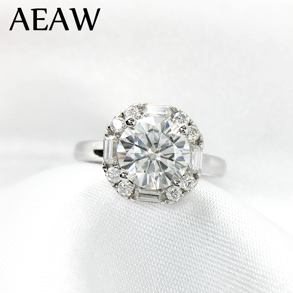 1 Carat ct 6 5mm Round Cut Engagement Wedding Moissanite Diamond Ring Double Halo Ring Genuine