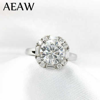 1 Carat ct 6.5mm Round Cut Engagement&Wedding Moissanite Diamond Ring Double Halo Ring Genuine 14K 585 White Gold - DISCOUNT ITEM  30% OFF All Category
