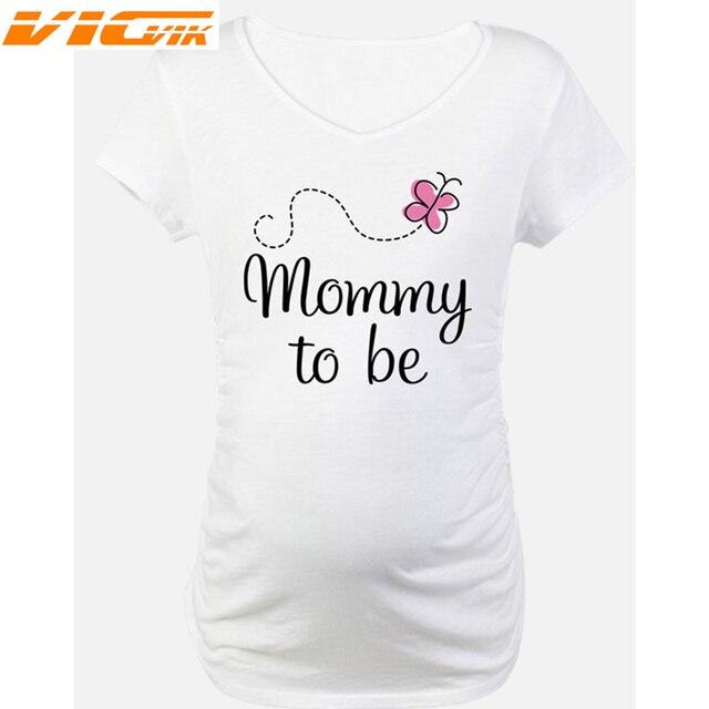 0b6496738d98c Summer Pregnant Women T Shirts Pregnancy Tee Shirt Short Sleeve Maternity  Clothes Pregnant T shirt Print Mommy to be Pregnancy