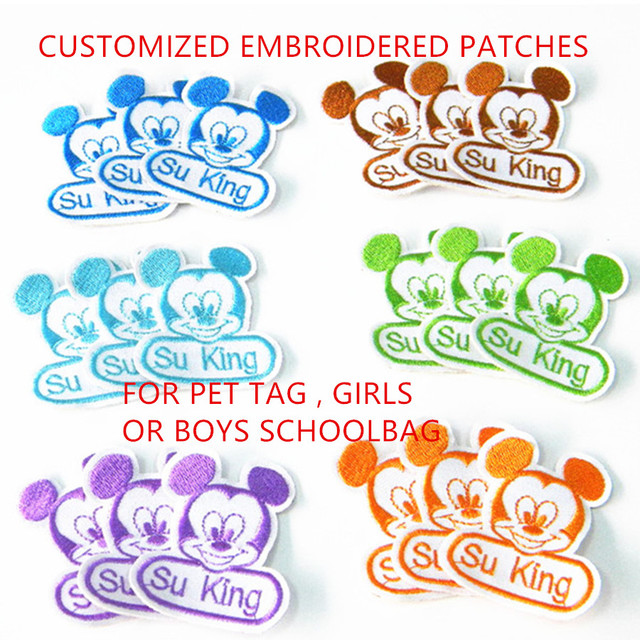 16pc/lot customised patches embroidered name Patch kids PET personalized  name N number embroidery patches