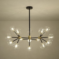 Post modern Dining Room Living Room Chandeliers Simple Round Glass Ball Dendritic Black Chandelier Modern Decorative Lighting G9