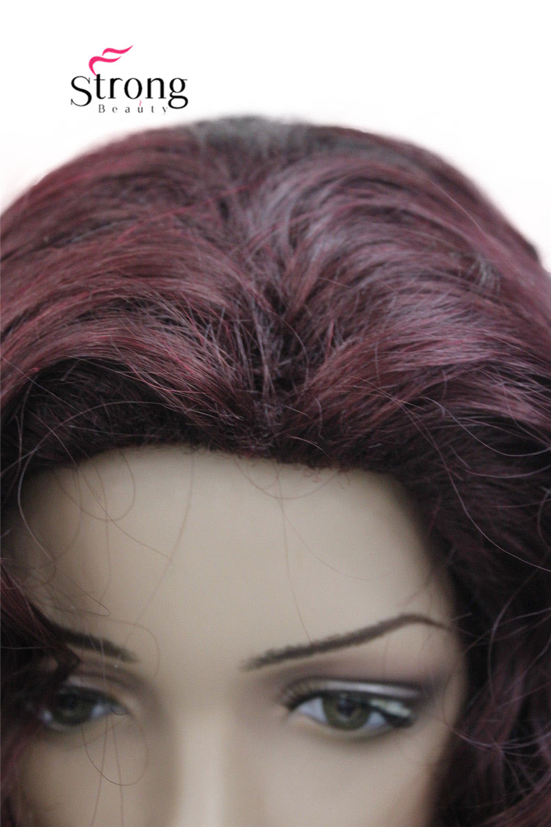 5950 99T fashion sexy Red Wine long curly womans full wig 99T(2)
