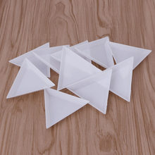 10Pcs Triangle Plastic Rhinestones Beads Crystal Nail Art Sorting Trays Accessory White(China)