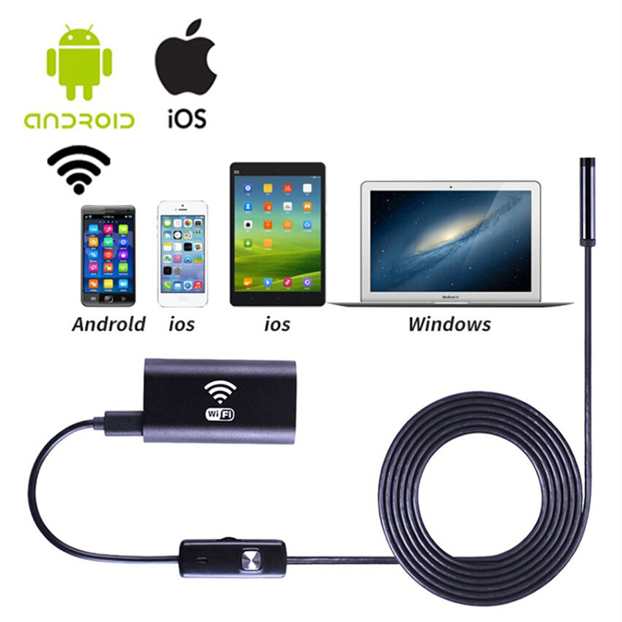 Wifi endoscope camera with Android and IOS 720p 6 LED 8mm Waterproof Inspection Borescope Tube