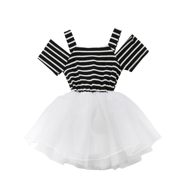 8ebe4da8e Baby Girl Party Wedding Tutu Tulle Dressy Clothes Off Shoulder Striped Tops  Sundress Toddler Kids Baby Girls Princess Dress 0-5T