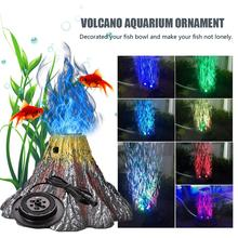 LED Aquarium Volcano Decoration Kit Red And RGB Colorful Lights Bubble