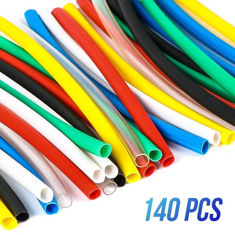 Купить на aliexpress Полиолефиновая в ассортимента термоусадочные трубки изоляционные, термоусадочные трубки обмотка для проводов, кабелей 140 pcs 7 видов цветов ...