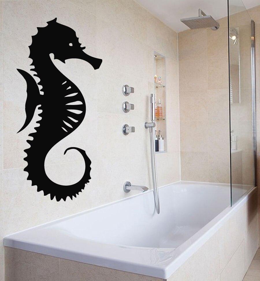 Sea Horse Vinyl Wandtattoo Badezimmer Dekor Ozean Tier Sea Horse Design Blumen-dekor-wandkunst-wand-aufkleber-abziehbild...