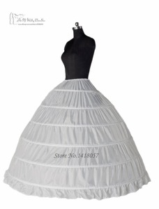 Image 3 - Ball Gown 6 Hoop Petticoats Underskirt Full Crinoline For Bridal Wedding Dress Accessories Free Shipping