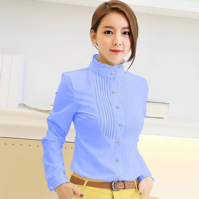 Profissão das Mulheres nova primavera outono camisas de manga longa blusas de chiffon blusa mulheres plus size mulheres moda vestuário feminino