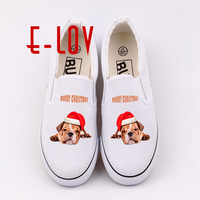 E LOV Funny Printed Christmas Animals Canvas Shoes Dogs Print Casual Loafers Slip On Women Shoes