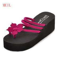 купить Platform Wedge Flip Flops Sandals Women Summer New Fashion High Heel Flip Flops Wedges Platform Shoes Women Slides High Slippers по цене 244.24 рублей