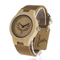 BOBO BIRD M13 Wooden Watch Ladies Engrave Deer Head Bamboo Dial Quartz Watch with Genuine Leather Band as Gift relojes mujer