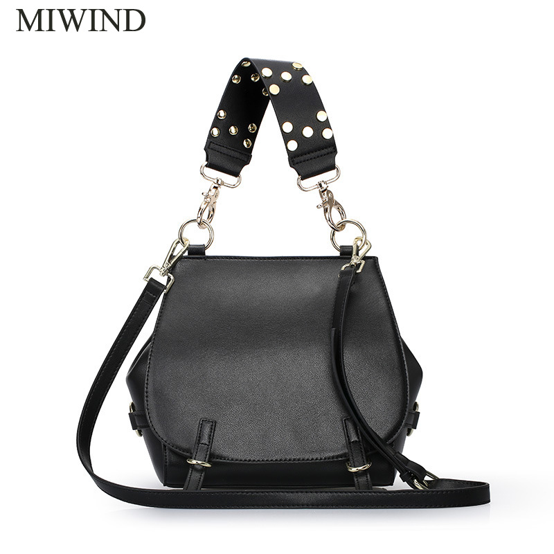 Free Shipping MIWIND Fashion Handbags Famous Brand Bags High Quality Buckle Handbags Women Genuine Leather Shoulder Bag WU2642 miwind new fashion leather handbags high quality women shoulder bags buy one get another free full set 6 pieces more favorable