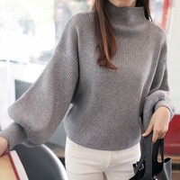 2018 Autumn New Korean Solid Color High Lead Thin Knitting Unlined Upper Garment Easy Bat Pullover Lantern Sleeve Sweater Woman