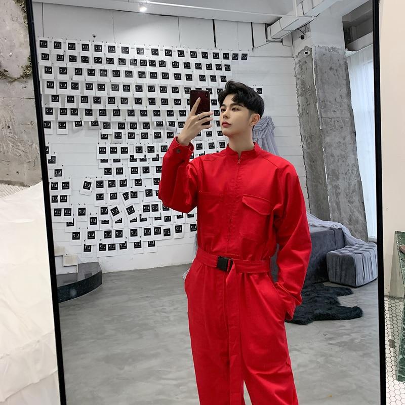 Hommes rue haute Hip Hop décontracté combinaison Cargo pantalon homme Streetwear salopette scène danse vêtements combinaison Harem pantalon-in Salopette from Vêtements homme    3