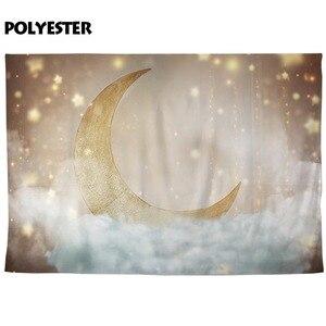 Image 4 - Funnytree תינוק מקלחת יילוד Photophone צילום רקע זהב גליטר ירח כוכבים ענן רקע שיחת וידאו צילום סטודיו