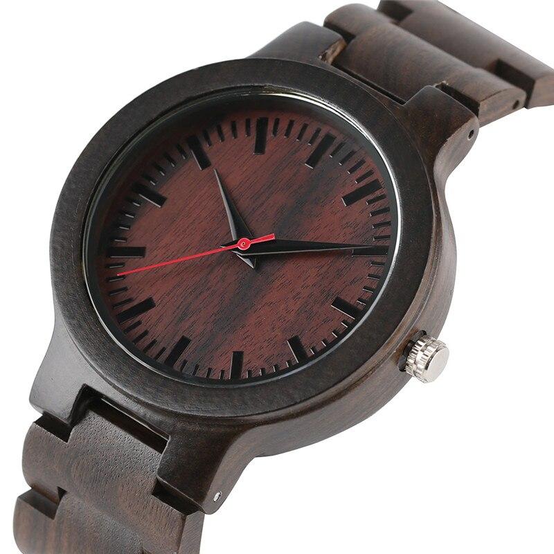 Simple Men Full Wooden Bracelet Clasp Nature Casual Bamboo  Wood Bangle Quartz Wrist Watch Reloj Hombre Clock