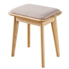 Скандинавский полностью твердый деревянный стул для макияжа современный минималистичный табурет для туалетного столика мебель для спальни Пепельный деревянный креативный мягкий табурет