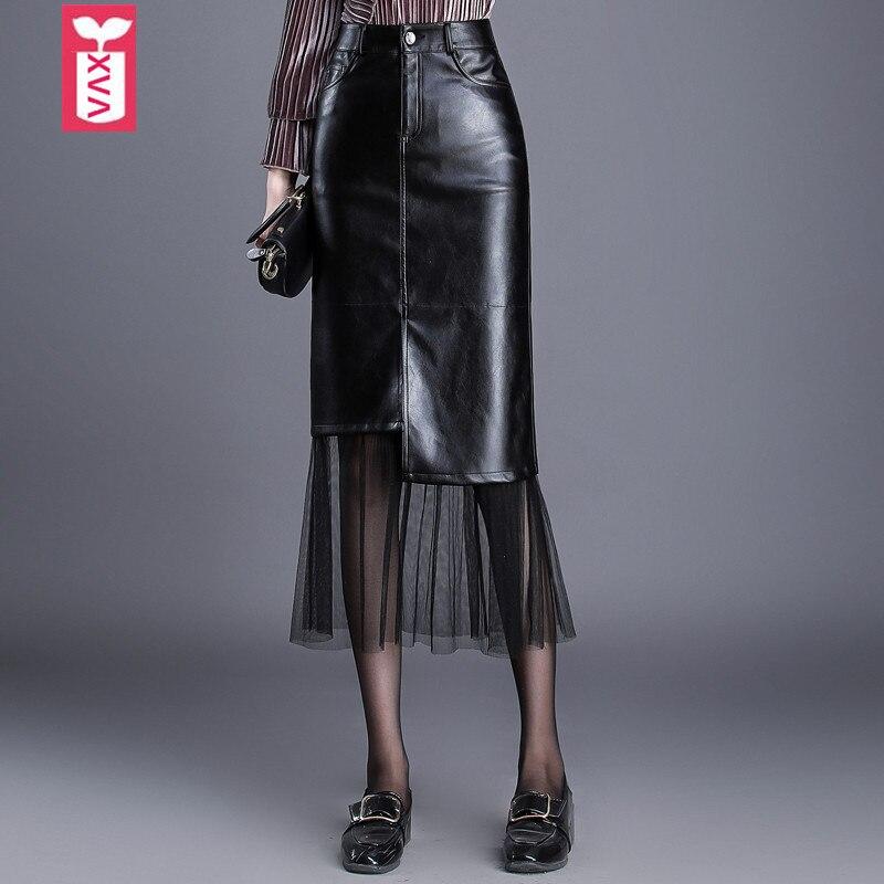 Haute qualité OL Faux cuir véritable jupes longues femmes taille haute Voile glands noir mi-mollet cuir jupes hiver nouveau