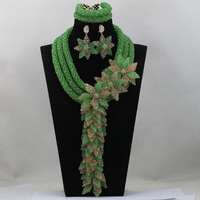 Amazing Lemon Green Wedding Nigerian Beads Jewelry Set Crystal Flowers Bib Statement Necklace Set Free Ship QW091