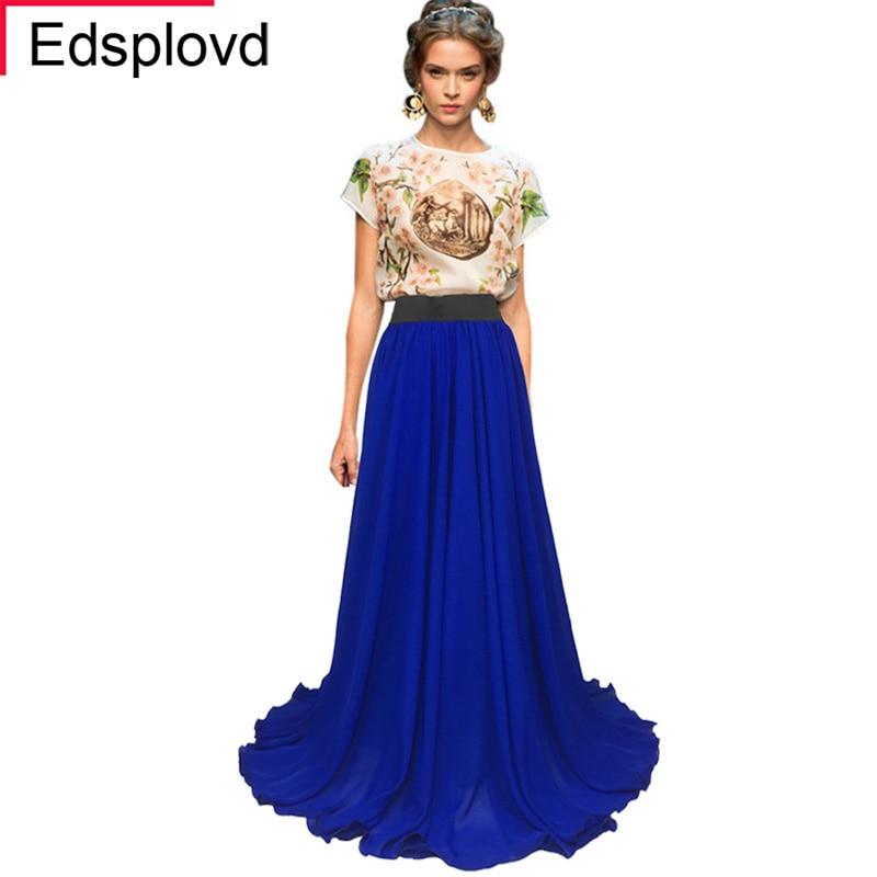 EdspLovd 8 м подол плюс Размеры Королевский синий юбка Для женщин макси-юбка из шифона Повседневное длина в пол однотонное Цвет A35 - Цвет: Royal Blue Hot