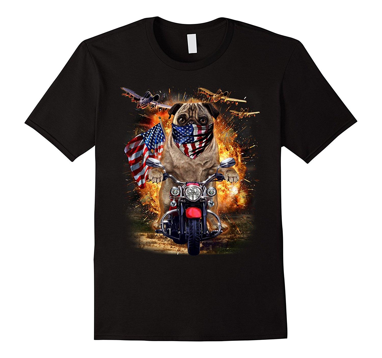 2018 Hot Sale 100% cotton Grumpy Pug Ride Motorcycle in America Bandana, Dog T-Shirt Tee shirt