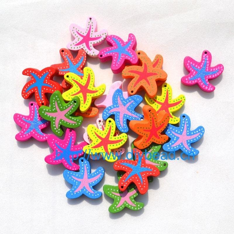 20 шт DIY Ювелирная фурнитура Детский отдел рукоделия браслет аксессуары смешанные формы деревянные бусины с мультяшным принтом животные разные цвета - Цвет: starfish