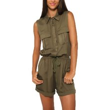 Casual Jumpsuit Sleeveless Turn Down Collar Pockets Zipper Rompers Fashion Women's Army Green Military Bodysuit with Belt